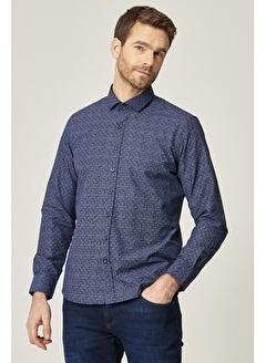 AC&Co / ALTINYILDIZ CLASSICS Tailored Slim Fit Dar Kesim İtalyan Yaka Baskılı Gömlek 4A2021100111